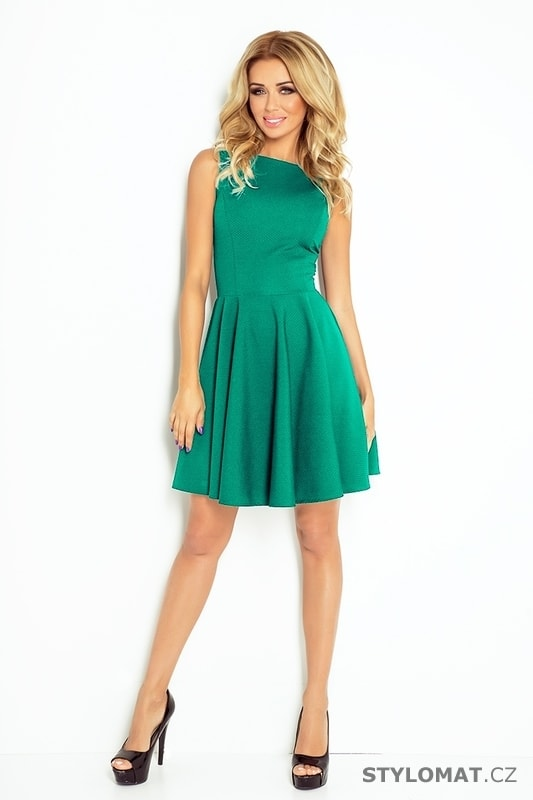 Krásné zelené šaty s rovným výstřihem a širokou sukní - Numoco - Elegantní  a business šaty cd3d2546b8b