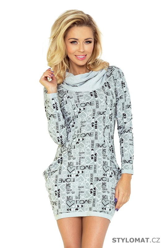 Dámské šedé sportovní šaty s velkými kapsami - Love - Numoco - Jarní šaty e095cac20d