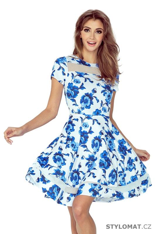 Bílé midi šaty s tylovými rukávy a modrými květy. Zvětšit. - 4%. Previous   Next dec5be8fec7