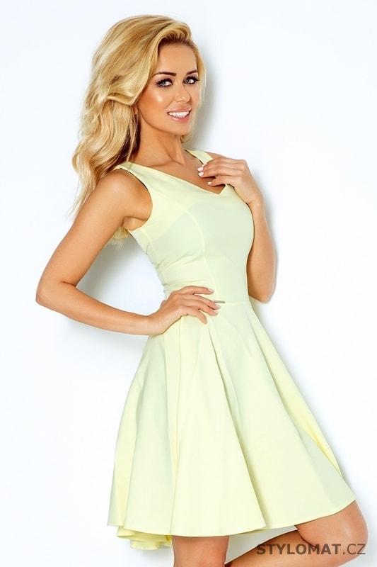 Světle žluté šaty s širokou sukní - Numoco - Krátké letní šaty 4137db38c5