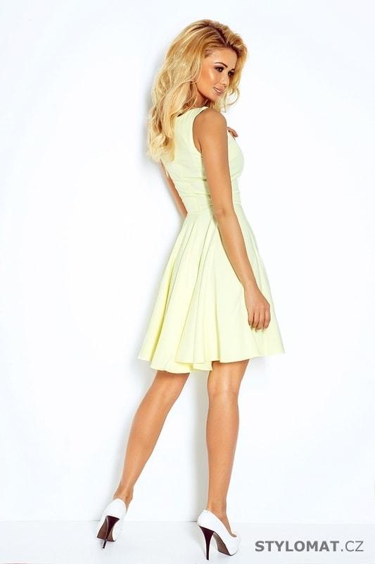 Světle žluté šaty s širokou sukní - Numoco - Krátké letní šaty de57856f92