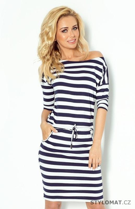 Tmavě modré sportovní šaty s modro bílými pruhy - Numoco - Jarní šaty 18a6141f24