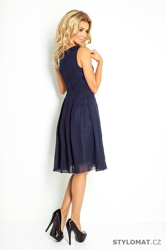 26e72fd78a1 Tmavě modré šifónové šaty - Numoco - Krátké společenské šaty