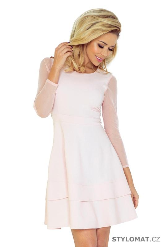 Světle růžové šaty s tylovými rukávy - Numoco - Krátké společenské šaty f4f00b519f