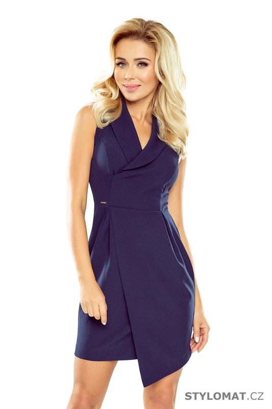 Šaty s širokým límcem tmavě modré - Numoco - Elegantní a business šaty 39564a3b93c