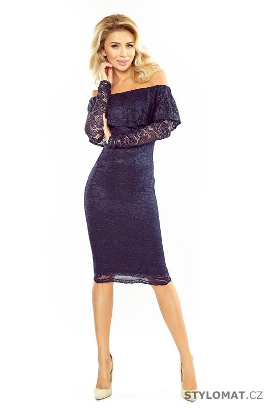 456a2e4611f Krajkové šaty s volánem a dlouhými rukávy tmavě modré. Zvětšit. - 3%.  Previous  Next