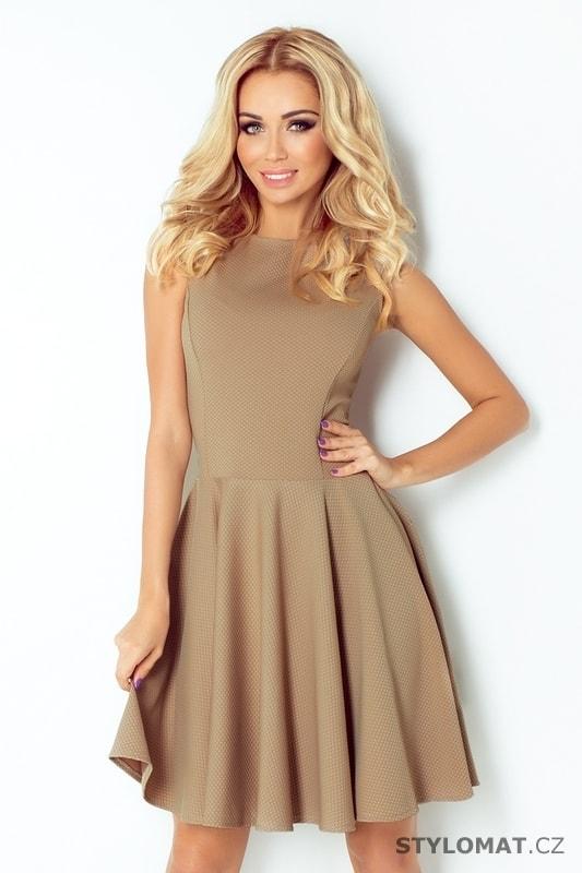 Kávové dámské šaty s kolovou sukní - Numoco - Elegantní a business šaty d82ee7e6a5