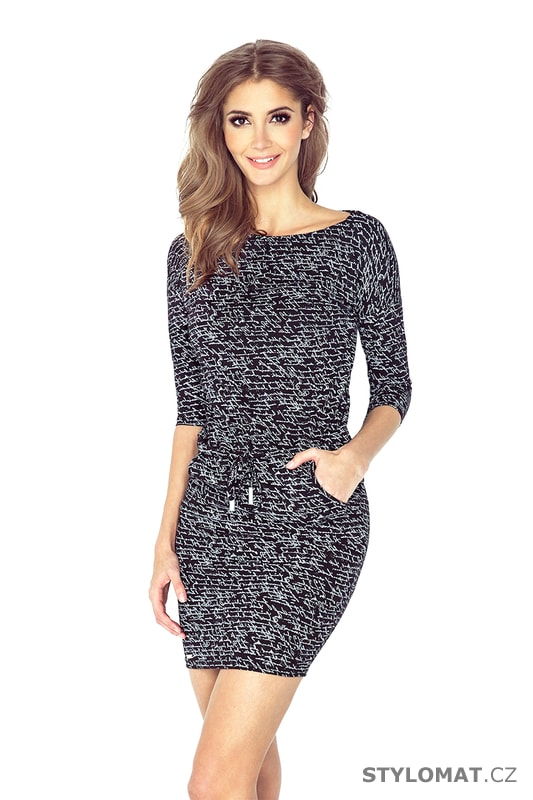 cb2c4e0e528 Černé sportovní šaty se vzorem - Numoco - Jarní šaty