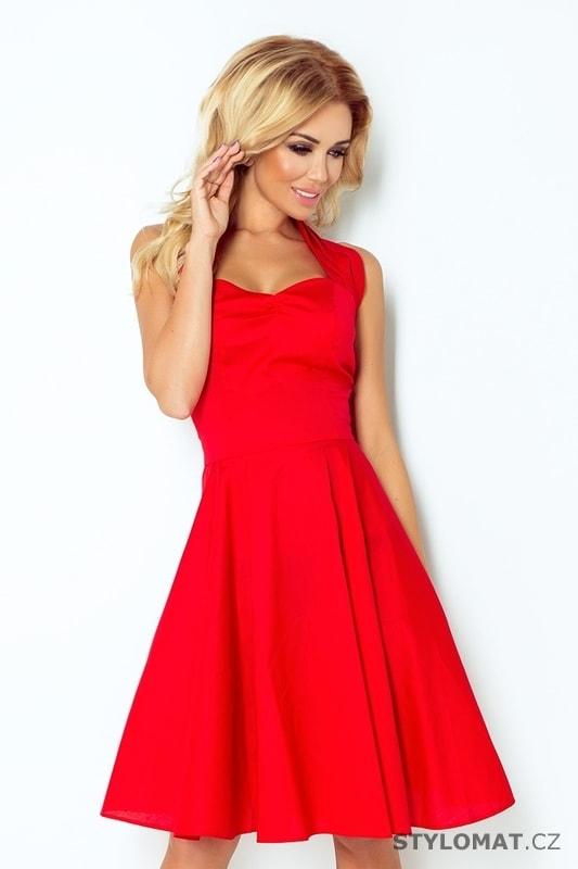 Červené šaty s širokou sukní - Numoco - Krátké společenské šaty 442978b121