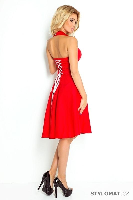 Červené šaty s širokou sukní - Numoco - Krátké společenské šaty ea5f7eaa1f