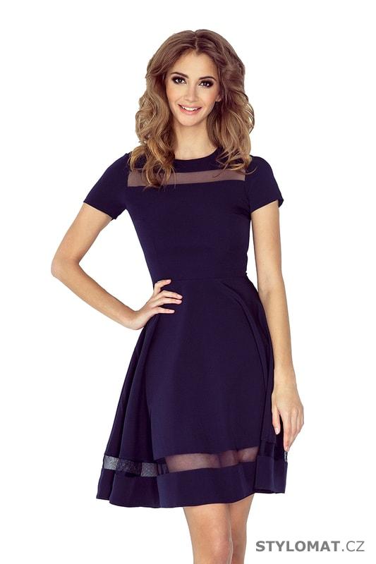 Midi šaty s tylem tmavě modré - Numoco - Elegantní a business šaty 425bbd2e40