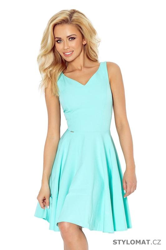 Krásné mátové šaty na ramínka s kolovou sukní - Numoco - Krátké letní šaty 530dabdcb1
