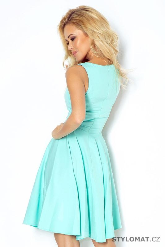 Krásné mátové šaty na ramínka s kolovou sukní - Numoco - Krátké ... f0e8201fae