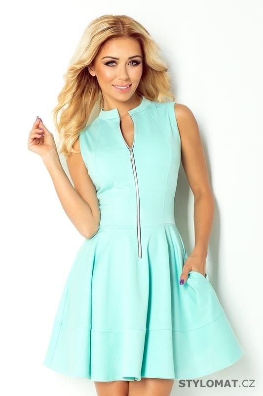 Mátové dámské šaty s zipem vpředu - Numoco - Krátké letní šaty ef8b12f7e2
