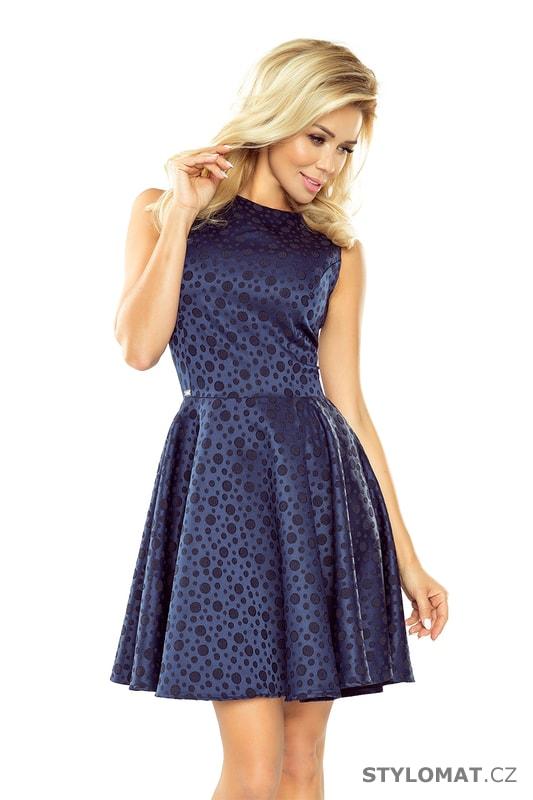 b7de7bb32e9 Kolové šaty s lodičkovým výstřihem tmavě modré - Numoco - Krátké  společenské šaty