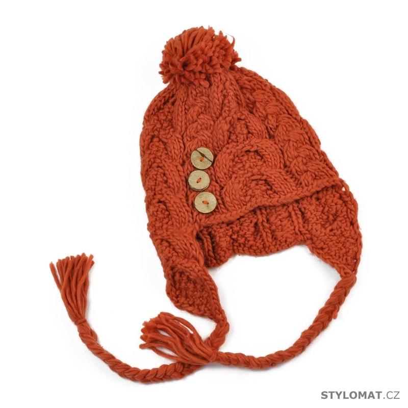 ... Zimní dámské ušanky    Čepice s copánky oranžová. Čepice s copánky  oranžová 4d03338134