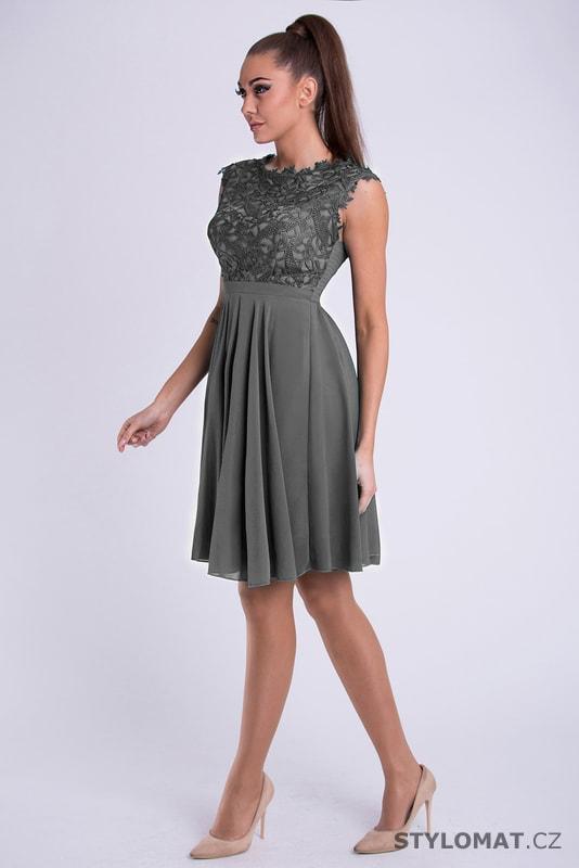 98f2c2c713f Dámské koktejlky s krajkou šedé - Eva Lola - Krátké společenské šaty