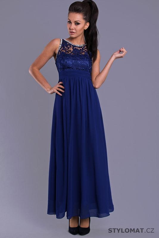 90228f406b4 Dlouhé plesové šaty v královsky modré barvě - Eva Lola - Dlouhé ...