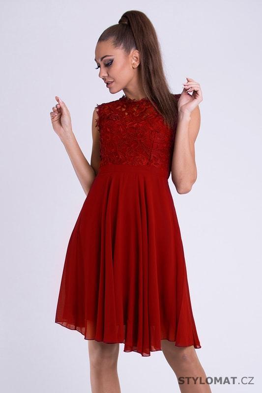 Dámské koktejlky s krajkou červené - Eva Lola - Krátké společenské šaty 1b4aa9fb52f