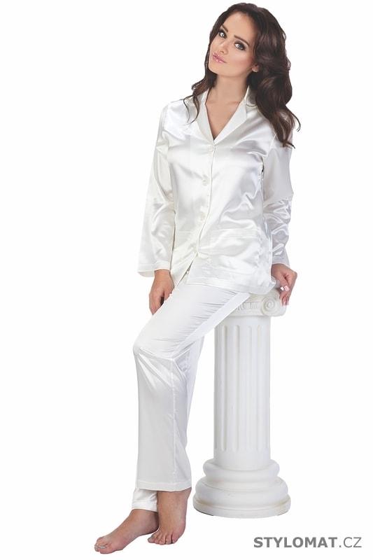 75094bf2a8a Dámské saténové pyžamo Classic dlouhé bílé - De Lafense - Saténová