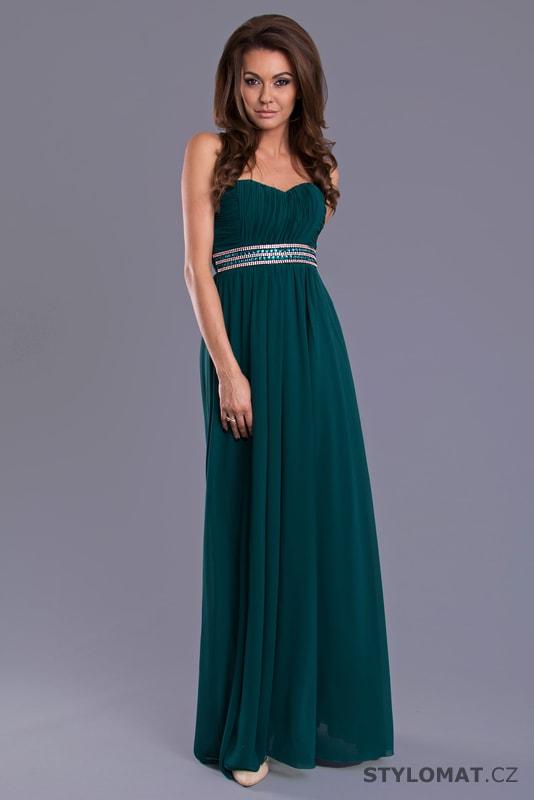 b09754f2811 Dlouhé plesové šaty s řaseným vzhledem petrolejové - Eva Lola ...