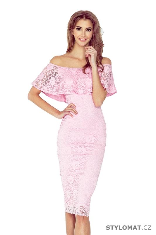 Krajkové šaty ve španělském stylu pastelově růžové - Numoco - Dlouhé  společenské šaty 9334f7e15f4