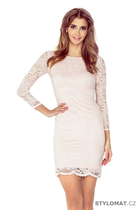 Krajkové šaty broskvové - Numoco - Krátké společenské šaty faa075f47b