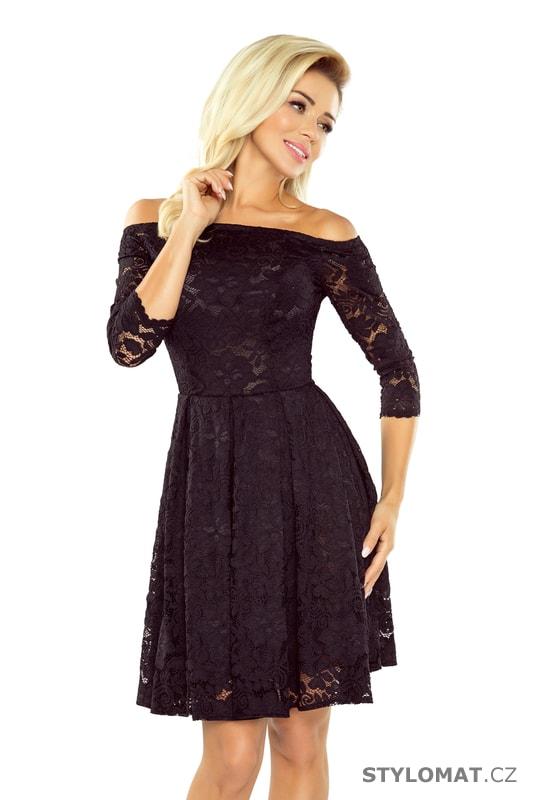 fcc42c87672 Šaty s holými rameny a černou krajkou - Numoco - Krátké společenské šaty