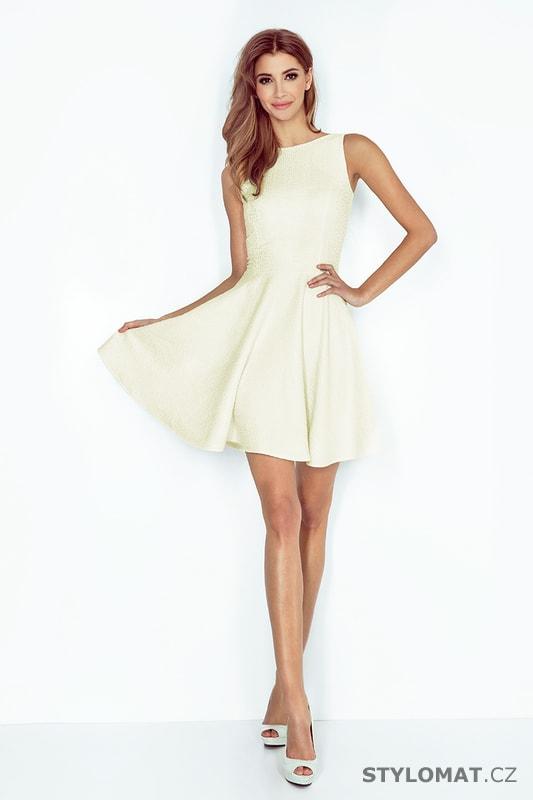 4690c620002 ... Krátké společenské šaty    Šaty s kolovou sukní s lodičkovým výstřihem  ecru. Previous  Next