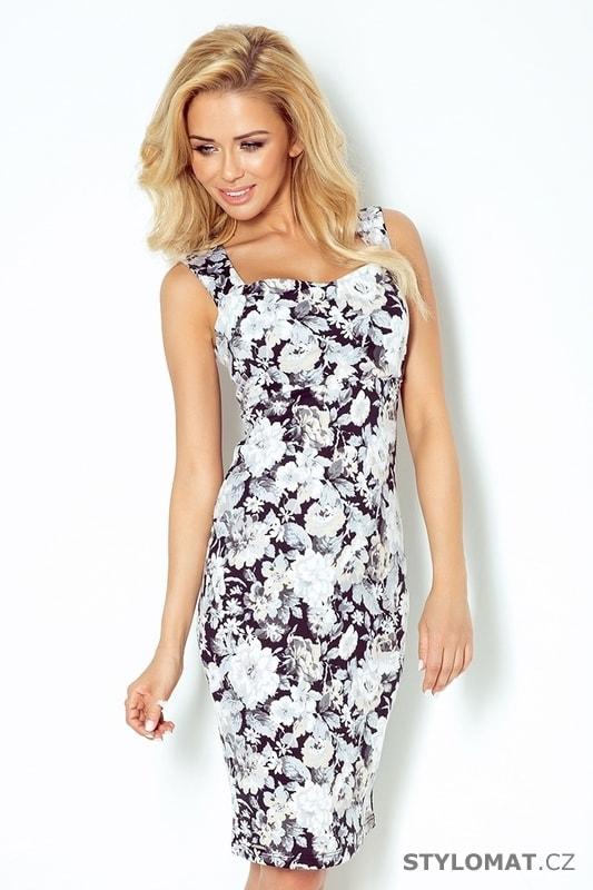 23ffbd8b6e0 Šaty bez rukávů s výstřihem na zádech - černobílé květy - Numoco - Krátké  letní šaty