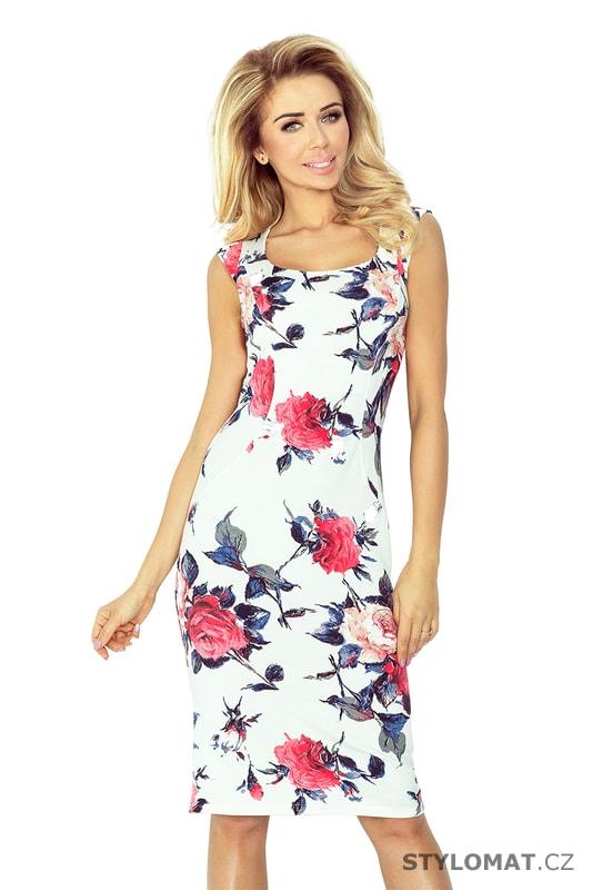 f275622924f Vypasované šaty s potiskem květin - Numoco - Krátké letní šaty