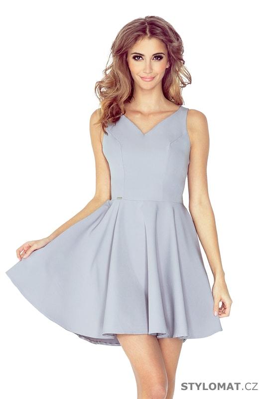 Šedé společenské šaty s kolovou sukní - Numoco - Krátké společenské šaty ff1f5f7589