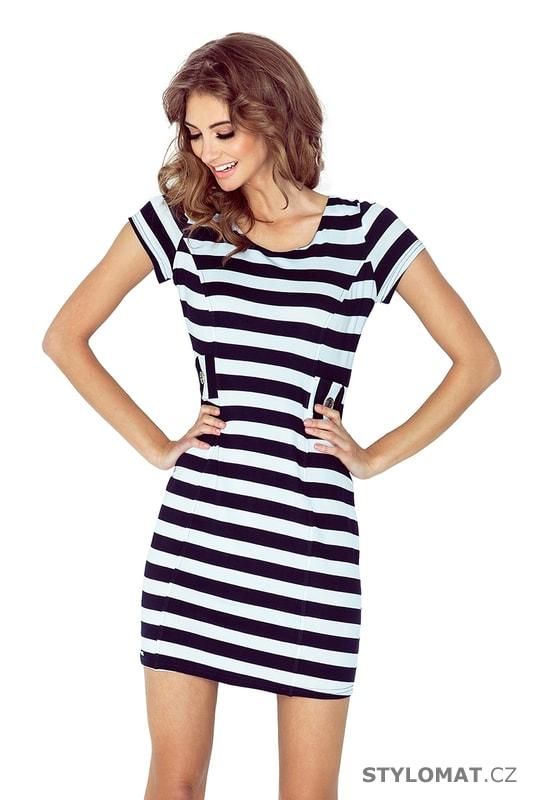 Šaty s dvěma knoflíky tmavě modré a bílé pruhy - Numoco - Krátké letní šaty 6ee6905b14