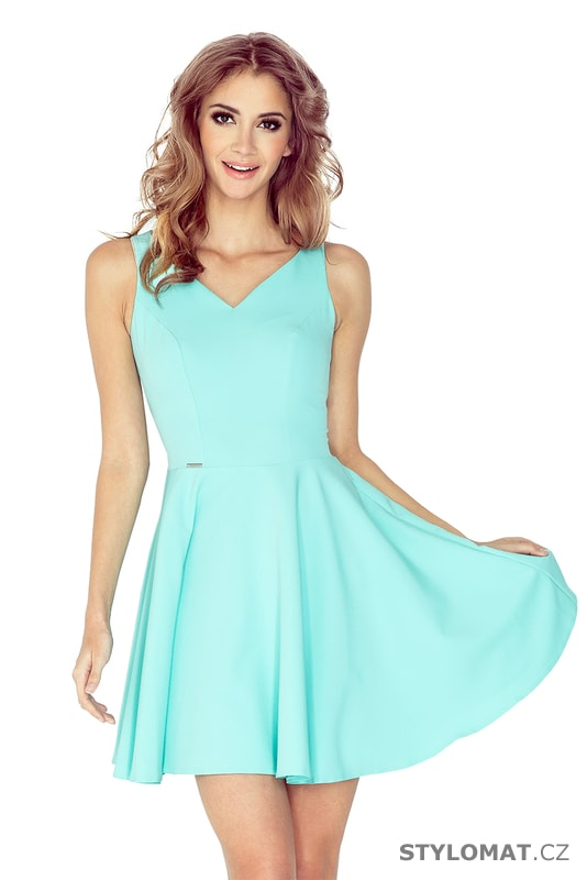 68d62fefe8f Šaty s kolovou sukní a srdíčkovým výstřihem mátové - Numoco - Krátké  společenské šaty