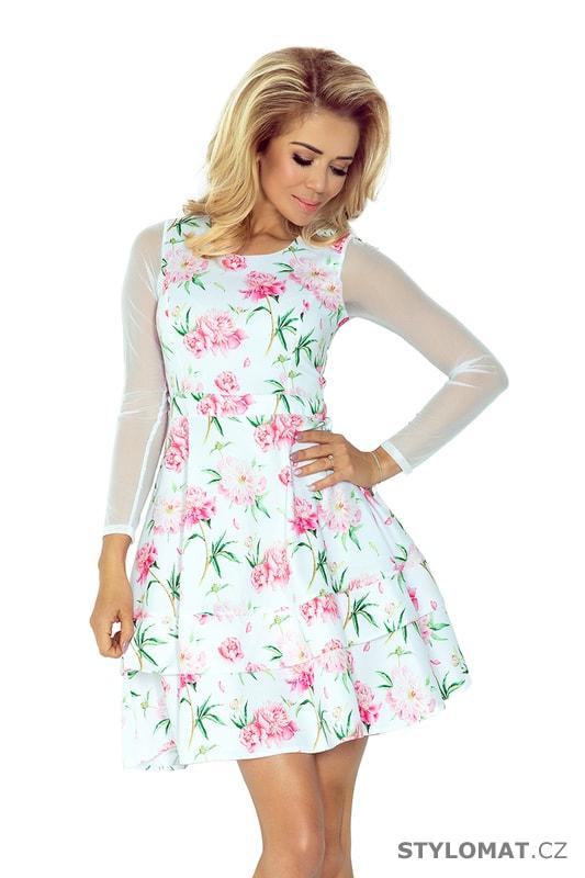 f3e69def82c Bílé romantické šaty s tylovými rukávy a vzorem růžovými květy - Numoco - Krátké  společenské šaty