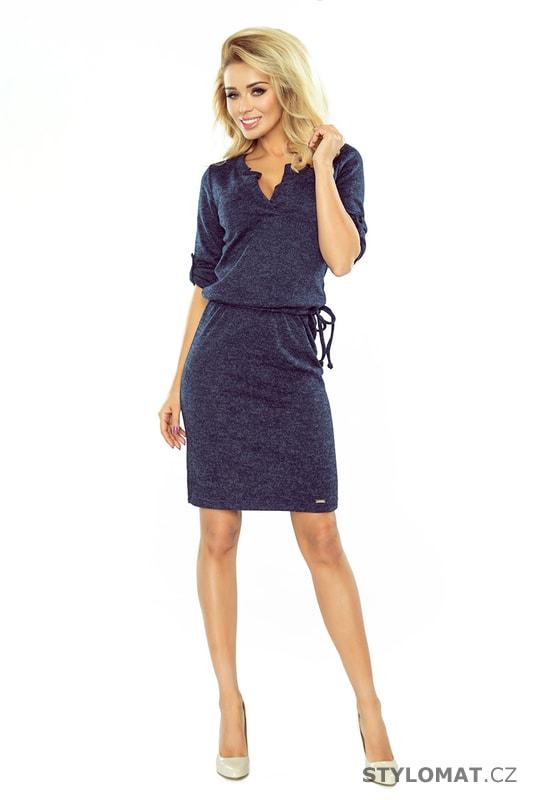 ea2e36fda15 Svetrové šaty s límečkem tmavě modré - Numoco - Úpletové šaty