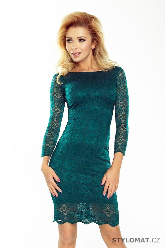 Krajkové šaty lahvově zelené - Numoco - Krátké společenské šaty 3c40274627c