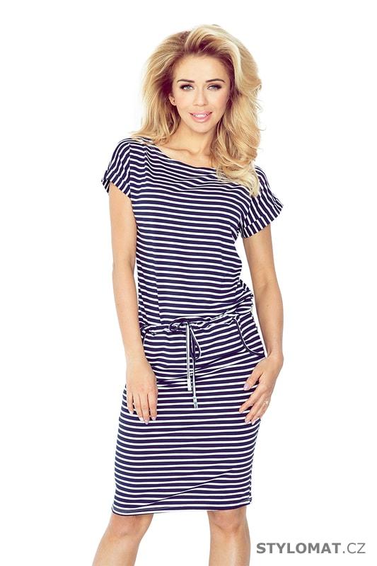 4f72082fb81 Sportovní šaty s krátkým rukávem s pruhy v tmavě modré a bílé barvě ...