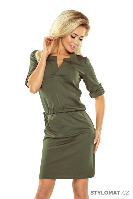 a3816374ad9 Dámské šaty Agata s límečkem - khaki - Numoco - Krátké letní šaty