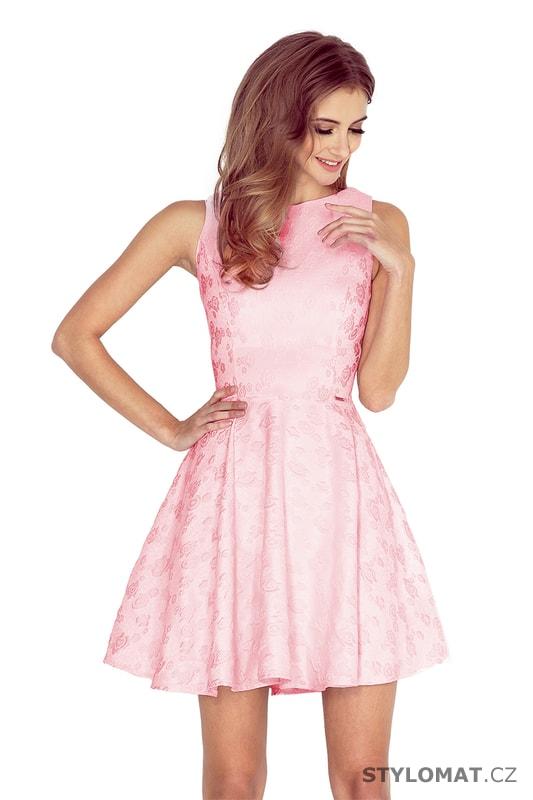 Šaty s kolovou sukní a lodičkovým výstřihem světle růžové - Numoco - Krátké  společenské šaty b29ef43e5bf