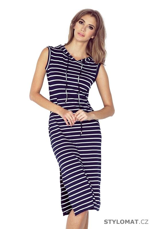 Dlouhé šaty s kapucí v námořnickém stylu - Numoco - Dlouhé letní šaty 7c8b3789aa