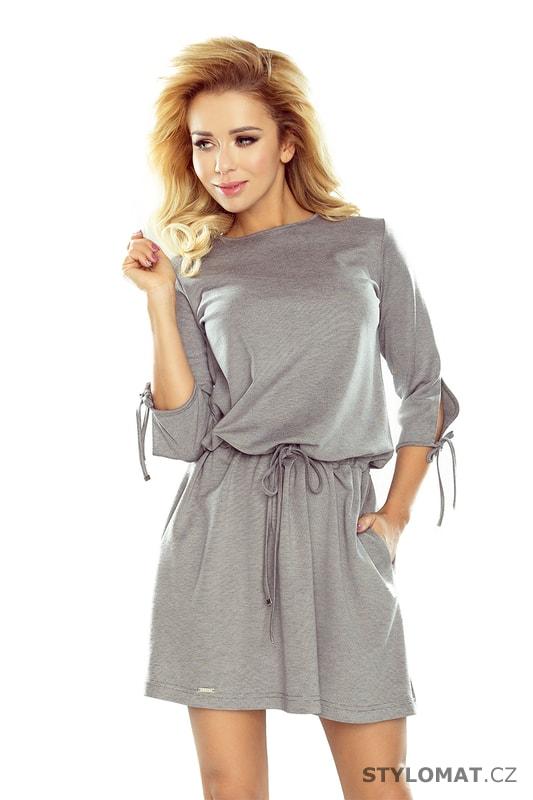 d4575f503a5 Sportovní šaty s vázáním na rukávech v šedé barvě - Numoco - Jarní šaty