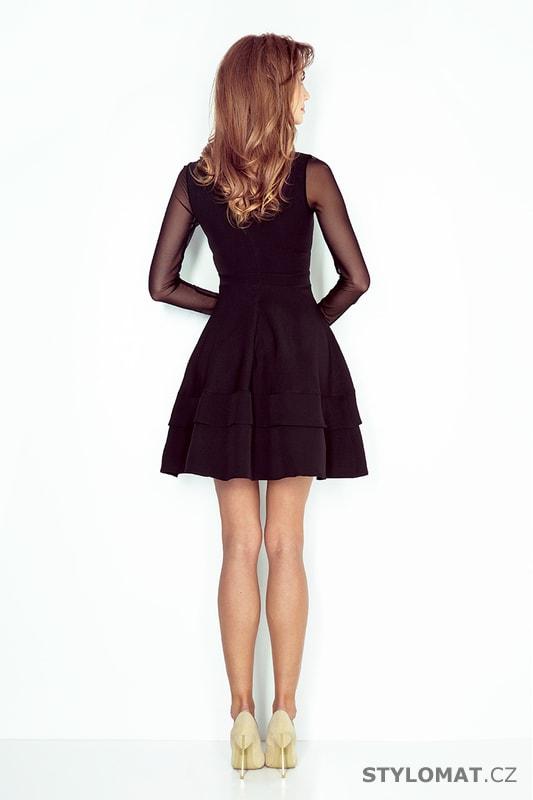 Černé šaty s tylovými rukávy - Numoco - Krátké společenské šaty 6b2db9d452