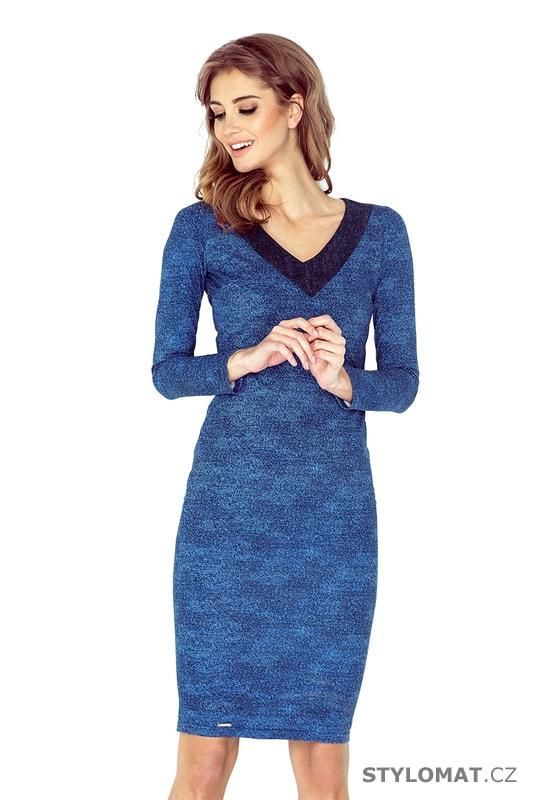 c123bdb4513 Džínové šaty s výstřihem světle modré - Numoco - Elegantní a business šaty