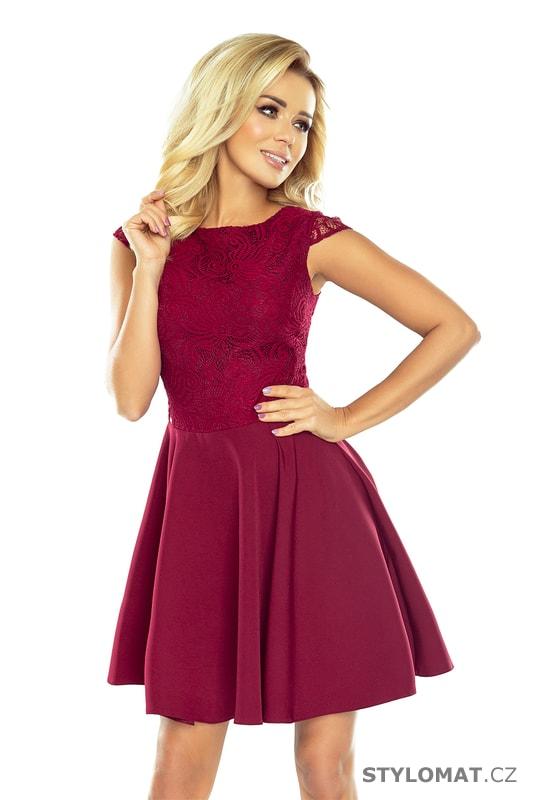 Bordó šaty s širokou sukní - Numoco - Krátké společenské šaty 547207ff7a