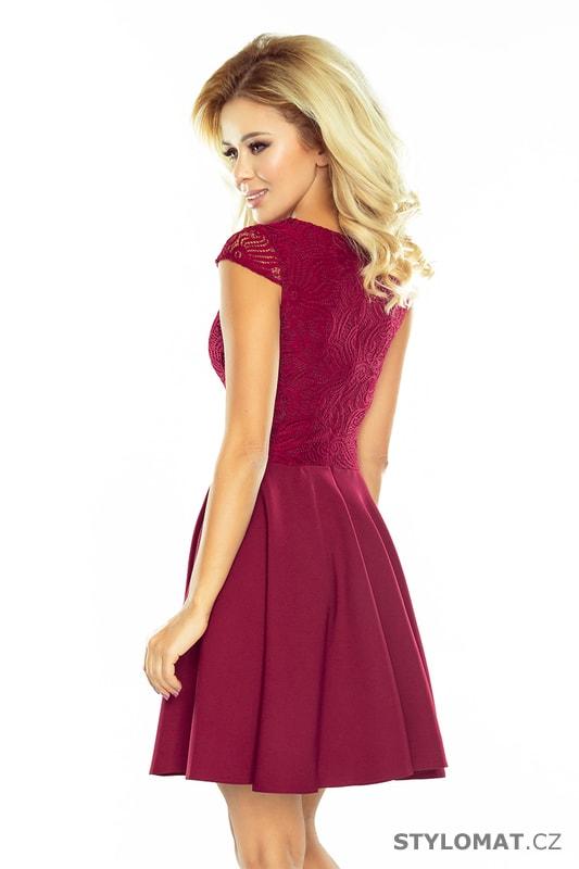 Bordó šaty s širokou sukní - Numoco - Krátké společenské šaty 775895e02c