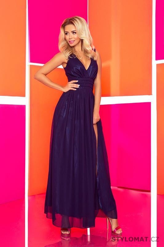 Maxi šifónové šaty tmavě modré - Numoco - Dlouhé společenské šaty 8ec40cd1fd