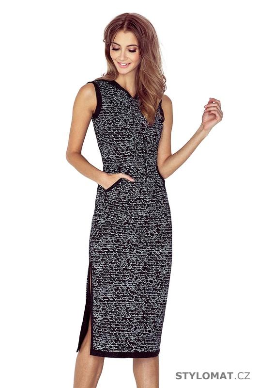 91de0794d30 Šaty s kapucí černé s nápisy - Numoco - Úpletové šaty