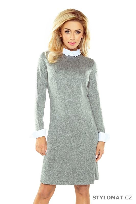 Elegantní šedé úpletové šaty límečkem - Numoco - Elegantní a business šaty 73102f0fd0