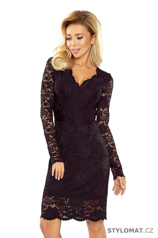 1830c650dfc Krajkové šaty s dlouhými rukávy a výstřihem černé - Numoco - Krátké  společenské šaty